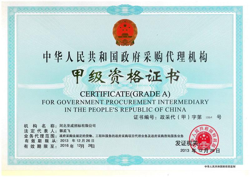 政府采购甲级资格证书